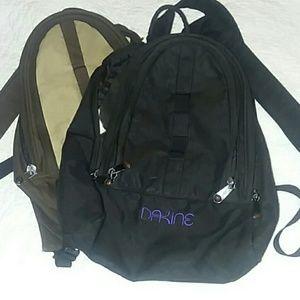 Black and brown Dakine mini backpacks